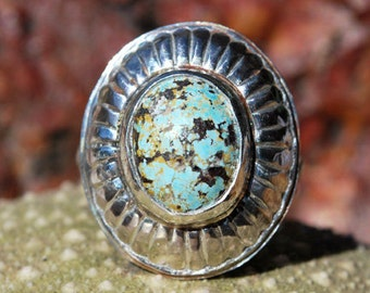 Turquoise Ring - Sterling Silver Ring - Multicolor Turquoise Ring - Scalloped Ring - Genuine Turquoise Ring - Artisan Jewelry - Size 7 Ring