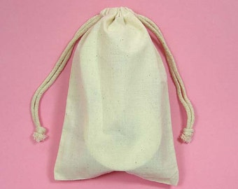 "12 3""x4"" Muslin Bags with Drawstring"