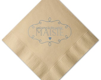 Welcome Baby Shower Personalized Napkins - Set of 100 - Custom Printed Napkins, Foil Stamped Napkins, Party Favors, Baby Shower