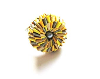 origami paper flower ring multicolor silverplate R64