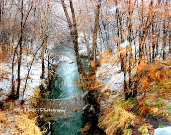 Nebraska Creek or Stream with Snow, Green Grass, fall colors-  Mother Nature's 4 Seasons in one! GIFTABLE ITEM.  Fine Art Photography Decor