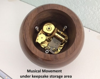 Walnut Music Box, 4 Inch Spherical, Turned, Round