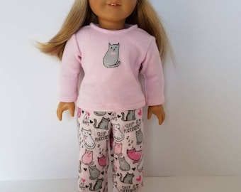 American Girl Doll Pajamas with or without sleep mask. Sleep is Purrfect!
