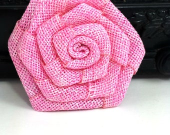 Pink burlap rose flower - Burlap fabric flowers - wholesale rosette flowers -  rustic flowers for wedding, scrapbooking and hair clips