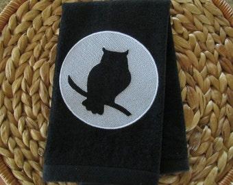 Owl - Embossed - Fingertip Velour Bathroom Towel 11x18 - JD Designs