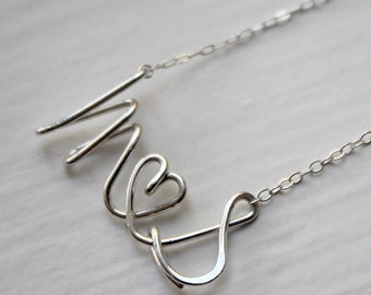 M Loves S Script Cursive Letter Alphabet Couple Initial Silver Gold Necklace - Delicate Simple Modern Jewelry - PROUD, lovers by 5050 STUDIO