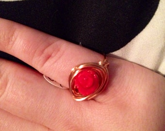 Copper wire wrapped red rose ring size 5.5