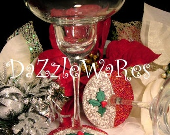 CHRISTMAS Margarita Glass Set of 2 - Christmas Holly Berries- Hand Beaded- Holiday Gifts -Holiday Decor -Wedding -Couture Inspired- Xmas