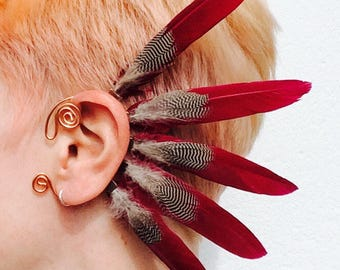 No 4. Feather ear cuff - copper, red, black and white