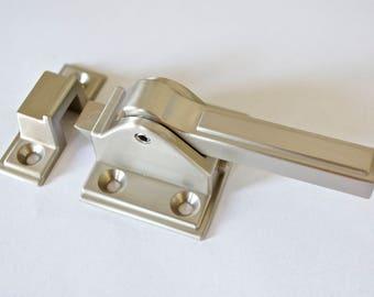 Icebox latch,cabinet latch,brushed nickel latch,latch,ice box latch,transitional style,cabinet pull