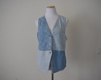 FREE usa SHIPPING Vintage embroidered blue Denim button up vest jean vest retro groovy sleeveless hipster boho size S