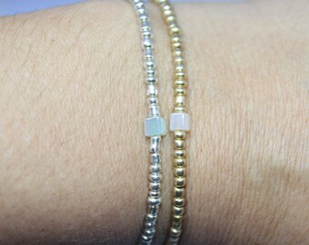 Dainty Silver and Gold Seed Bead Bracelet Set