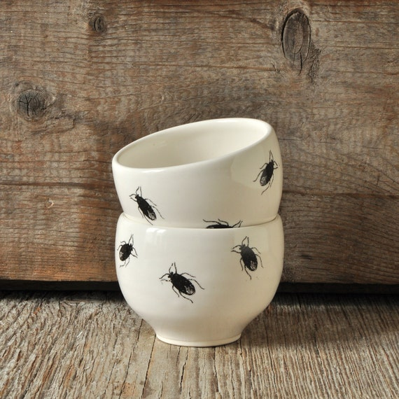 One porcelain espresso / tea cup with vintage INSECT prints