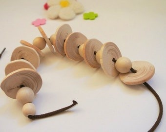 Organic Lacing Toy. Wooden Lacing Toy. Waldorf Inspired Toy.