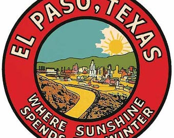 Vintage Style El Paso Texas  round Travel Decal sticker