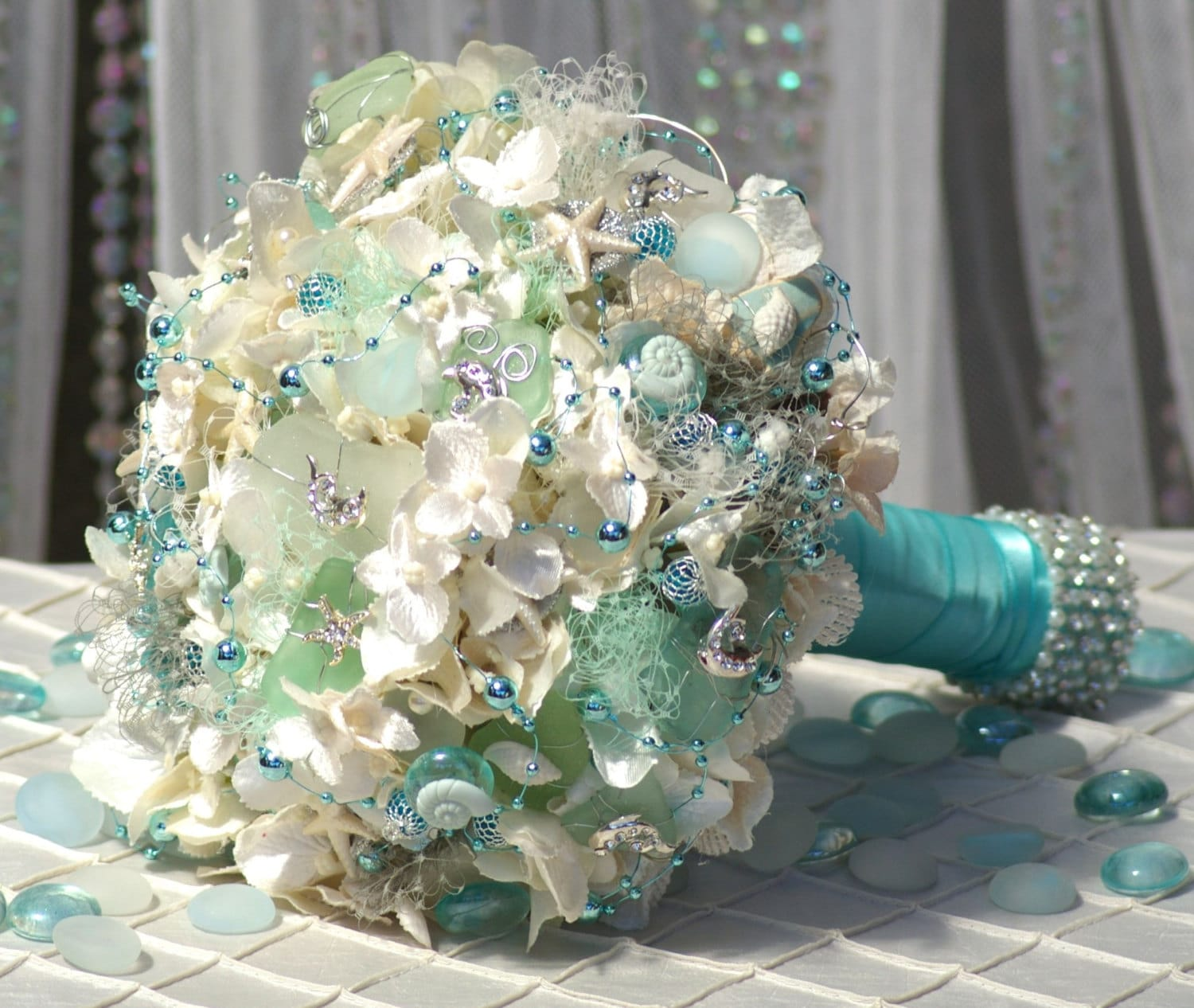 DEPOSIT For April Sea Glass Beach Brooch Bridal Bouquet Cream