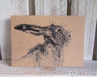 Hare Eco Notebook - Sketchbook - Jotter - Pocket Book - Hare Gift - Recycled