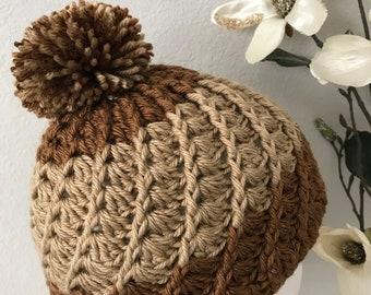 Crochet Chunky Spiral Women's Winter Hat Brown & Light brown