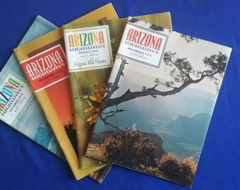 4 Issues of Arizona Highways, Aug., Oct., Nov., Dec. 1971