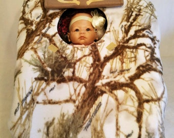 "Car Seat Cover True Timber White Snow Camo Baby With Tan Fleece Lining Hand Made Infant Carrier Custom Embroidery ""My Little Dear"" & Antlers"