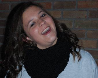 Soft crochet infinity scarf BLACK  crocheted eternity scarf, circle scarves, crochet scarf, loop scarves