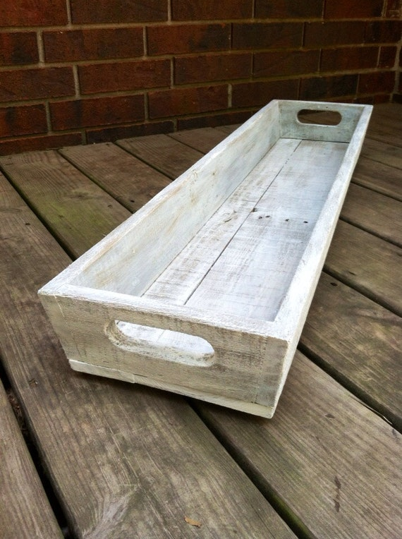 Tray - White Washed l Wooden Long Tray l Table Centerpiece l Trough, Wooden Planter, Shabby Chic, Farmhouse Style Tray