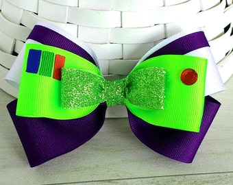 Buzz Lightyear Inspired Hair Bow, Toy Story Inspired Bow, Buzz Lightyear Hair Clip, Space Ranger Bow