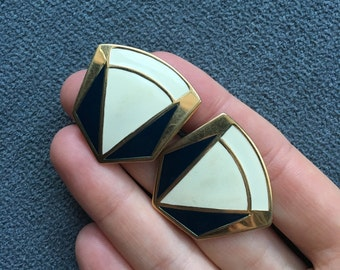 Vintage Navy Blue and Cream Off White Gold Tone Enamel Post Stud Earrings