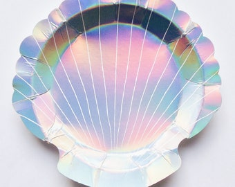 Mermaid party plates, shell plates, mermaid partyware, Scalloped shell, Holographic, Meri Meri, childrens mermaid party theme, under the sea