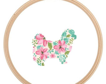 Shih Tzu Silhouette Cross Stitch Pattern Floral Water color effect Pet animal wall art Shih Tzu cross stitch modern gift