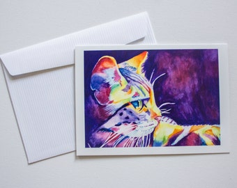 Watercolour Cat Blank Greeting Cards Art by Breanna Deis