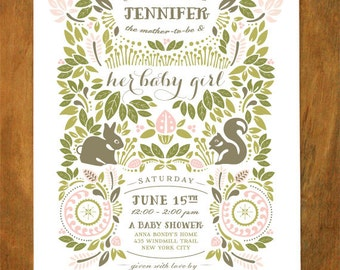 Woodland Invitation - GIRL (Greens & Pinks)