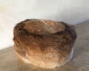 Vintage Pillbox Women's Rabbit Fur Hat