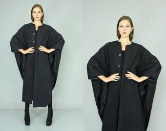 black minimalist cape coat OS