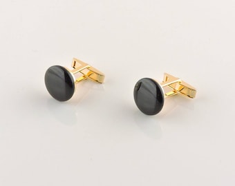 Gold Tone And Black Glass Round Cuff Links 5/8""
