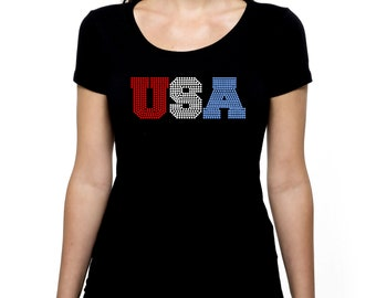 USA RHINESTONE t-shirt tank top   S M L XL 2XL - United States of America Fourth of July Memorial Day Labor Patriotic Independence