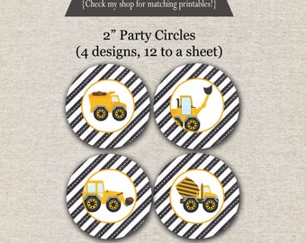 Construction Party Circles - INSTANT DOWNLOAD | Construction Cupcake Toppers | Dump Truck Party Circles | Dump Truck Party Circles
