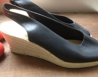 Petite Shoes, Size 35, Black Shoes, Wedges, Mules, Dress Shoes, Espadrillas with Heel, Small