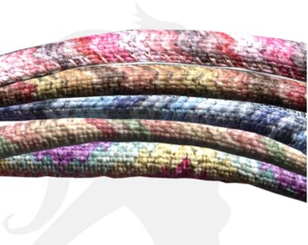 20cm cord - different colors - 5mm faux multicolored printed textile look leather cord - COIL05 1102