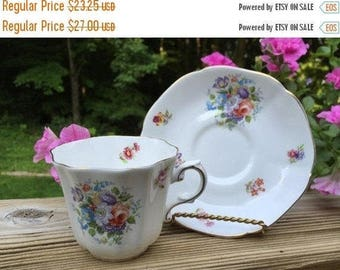 ON SALE Teacup Saucer Royal Grafton Bone China #436 Made in England Floral