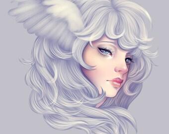 "Art Print ""White Falcon"" - Wings, Creepy Cute, Pastel Art, Wall Art, Pastel Goth, Kawaii, Owl, Weird, Quirky Art"