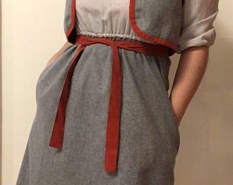 70s Teacher Chic Shirt Dress and Vest Set