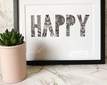 Happy Zentangle Wall Art