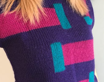 Vintage 80's New Wave Color Block Sleeveless Sweater