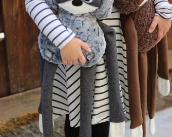 Gray Sloth Plush Fleece Handmade Toy