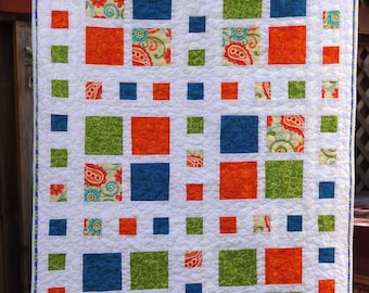"Modern Lap or Baby Quilt - 37"" x 52"" - Summertime Squares"
