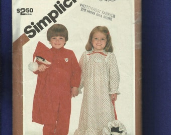 1980's Simplicity 5779 Country Nightgown & Footie Pajamas for Kids Size 3