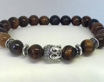 Buddha Bracelet - mala bracelet - tiger eye bracelet - yoga bracelet - gemstone bracelet - healing bracelet - meditation bracelet - beaded