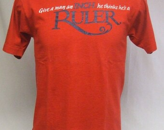 Vintage Virginia Slims Cigarette Give A Man An Inch Thinks He's A Ruler Shirt L