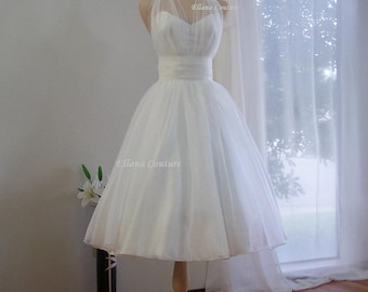 Marilyn - Retro Inspired Tea Length Wedding Dress. Vintage Style Organza Bridal Gown.
